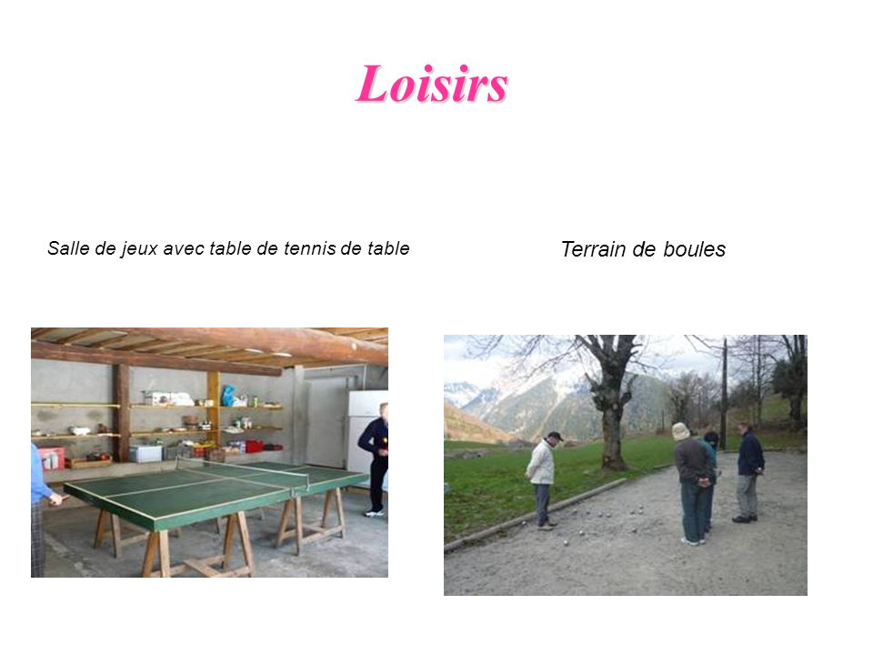Loisirs Salle de jeux avec table de tennis de table Terrain de boules