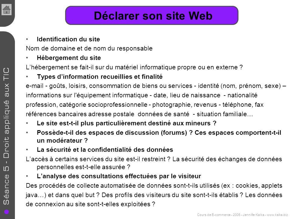 Cours de E-commerce - 2005 - Jennifer Kalka - www.kalka.biz Identification du site Nom de domaine et de nom du responsable Hébergement du site Lhéberg