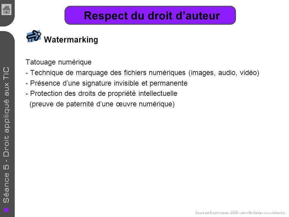 Cours de E-commerce - 2005 - Jennifer Kalka - www.kalka.biz Respect du droit dauteur Watermarking Tatouage numérique - Technique de marquage des fichi