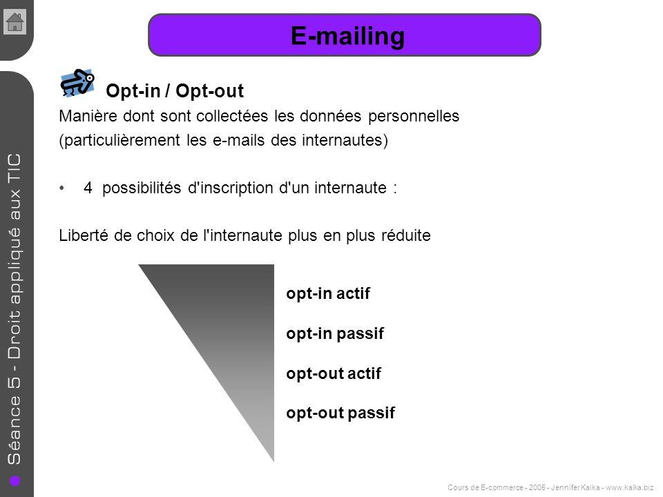 Cours de E-commerce - 2005 - Jennifer Kalka - www.kalka.biz E-mailing Opt-in / Opt-out Manière dont sont collectées les données personnelles (particul