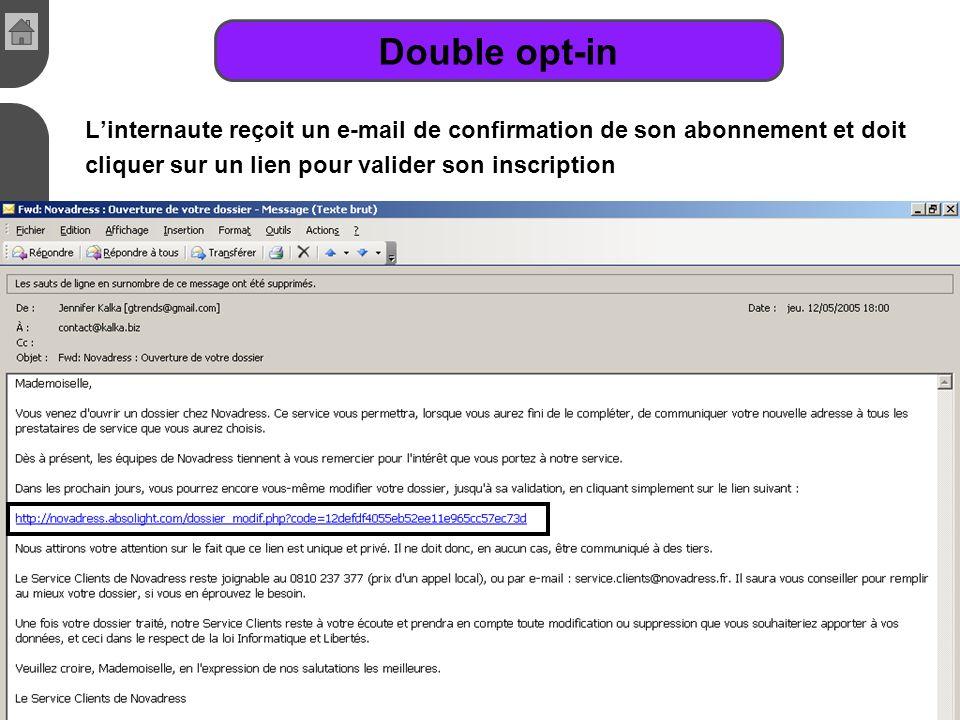 Cours de E-commerce - 2005 - Jennifer Kalka - www.kalka.biz Double opt-in Linternaute reçoit un e-mail de confirmation de son abonnement et doit cliqu