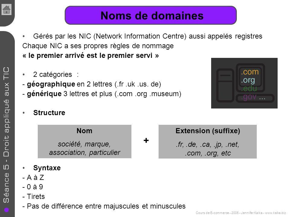 Noms de domaines Gérés par les NIC (Network Information Centre) aussi appelés registres Chaque NIC a ses propres règles de nommage « le premier arrivé