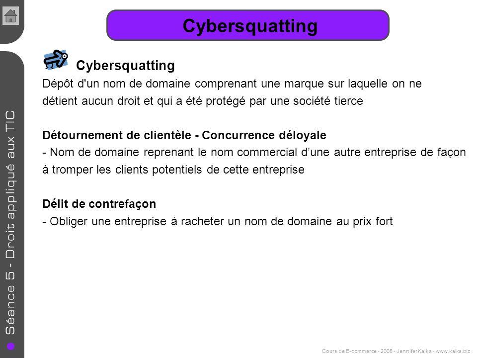 Cours de E-commerce - 2005 - Jennifer Kalka - www.kalka.biz Cybersquatting Dépôt d'un nom de domaine comprenant une marque sur laquelle on ne détient