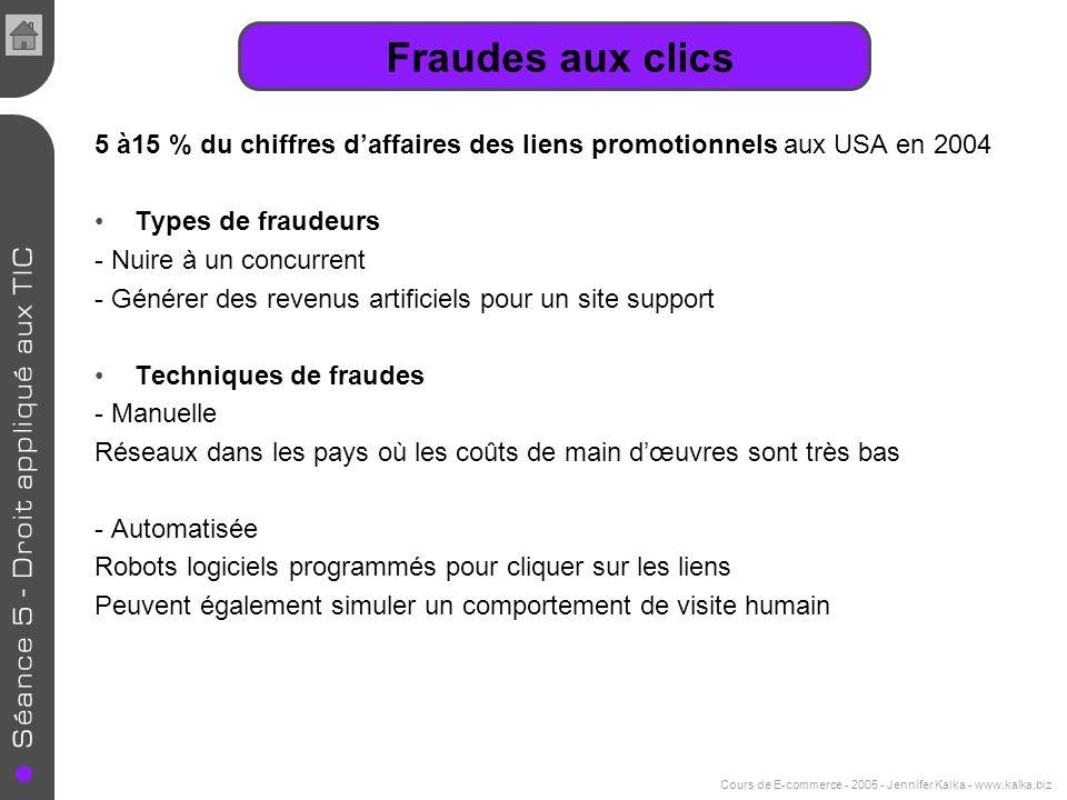 Cours de E-commerce - 2005 - Jennifer Kalka - www.kalka.biz Fraudes aux clics 5 à15 % du chiffres daffaires des liens promotionnels aux USA en 2004 Ty