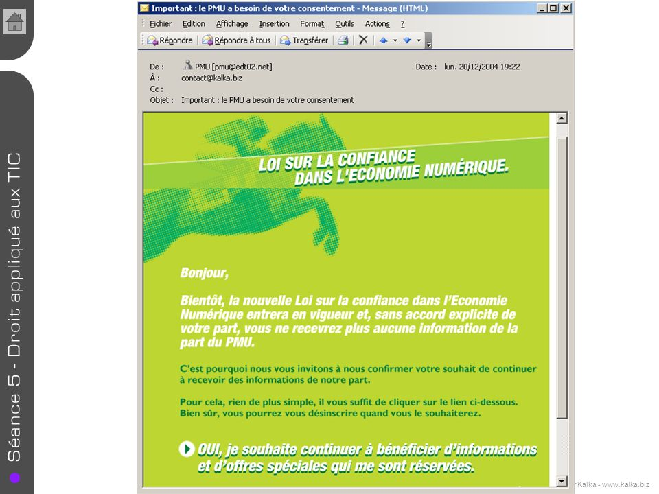 Cours de E-commerce - 2005 - Jennifer Kalka - www.kalka.biz Etude du Center of Excellence in Service de l Université du Maryland : -75 % des internautes américains en reçoivent tous les jours (19 emails en moyenne) -14 % des internautes lisent ces emails -4% ont acheté en ligne un produit proposé sur ces spams Selon la commission européenne le spam représente plus de la moitié de lensemble des courriers électronique échangés dans lUE.