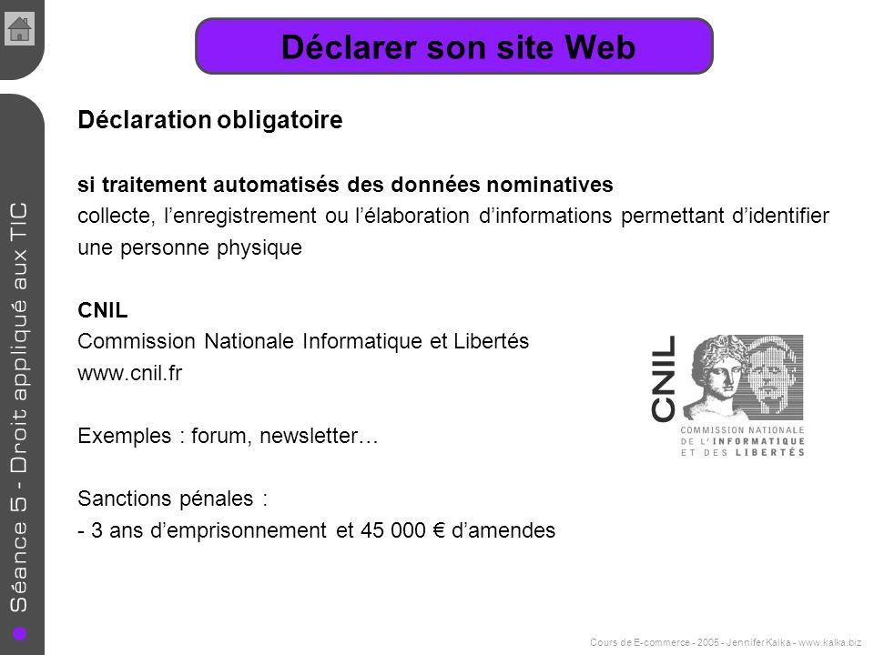 Cours de E-commerce - 2005 - Jennifer Kalka - www.kalka.biz Identification du site Nom de domaine et de nom du responsable Hébergement du site Lhébergement se fait-il sur du matériel informatique propre ou en externe .