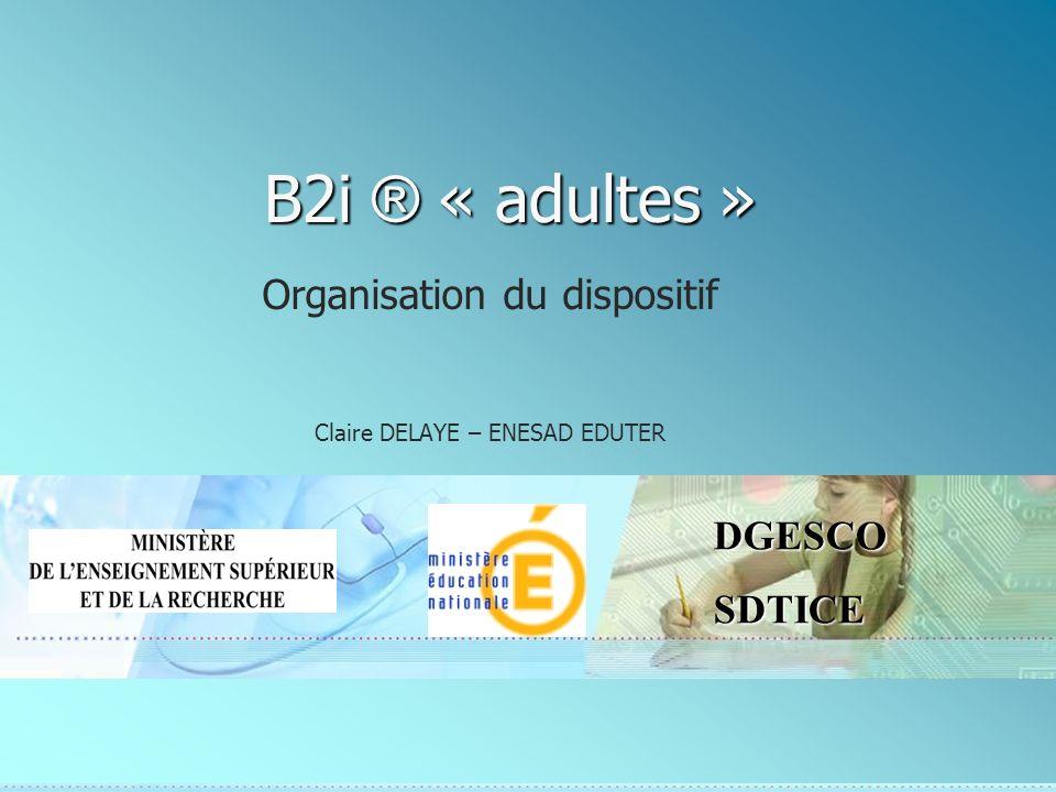 2DGESCOSDTICE 14 mars 2008 B2i « Adultes » - Journée « Centres expérimentateurs » Le référentiel et son explicitation Les étapes de la certification Lévaluation Le rôle du formateur dans le dispositif