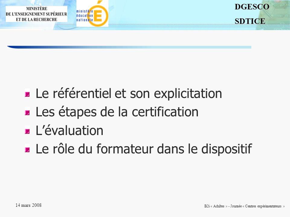 2DGESCOSDTICE 14 mars 2008 B2i « Adultes » - Journée « Centres expérimentateurs » Le référentiel et son explicitation Les étapes de la certification L