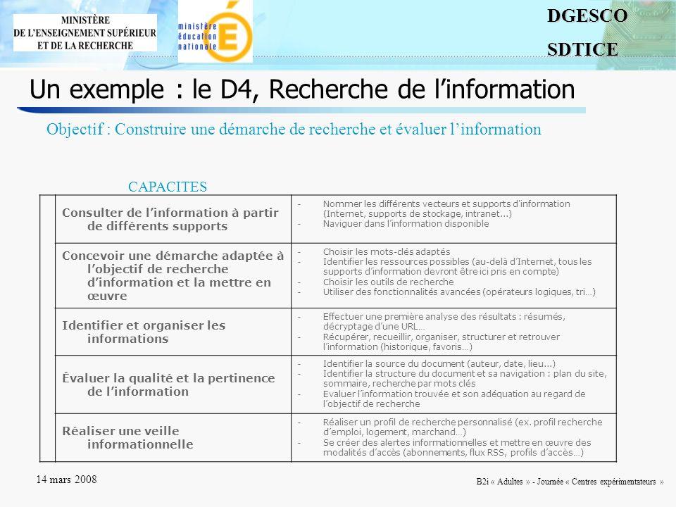 4DGESCOSDTICE 14 mars 2008 B2i « Adultes » - Journée « Centres expérimentateurs » Un exemple : le D4, Recherche de linformation Consulter de linformation à partir de différents supports - Nommer les différents vecteurs et supports d information (Internet, supports de stockage, intranet...) - Naviguer dans linformation disponible Concevoir une démarche adaptée à lobjectif de recherche dinformation et la mettre en œuvre - Choisir les mots-clés adaptés - Identifier les ressources possibles (au-delà dInternet, tous les supports dinformation devront être ici pris en compte) - Choisir les outils de recherche - Utiliser des fonctionnalités avancées (opérateurs logiques, tri…) Identifier et organiser les informations - Effectuer une première analyse des résultats : résumés, décryptage dune URL… - Récupérer, recueillir, organiser, structurer et retrouver linformation (historique, favoris…) Évaluer la qualité et la pertinence de linformation - Identifier la source du document (auteur, date, lieu...) - Identifier la structure du document et sa navigation : plan du site, sommaire, recherche par mots clés - Evaluer linformation trouvée et son adéquation au regard de lobjectif de recherche Réaliser une veille informationnelle - Réaliser un profil de recherche personnalisé (ex.