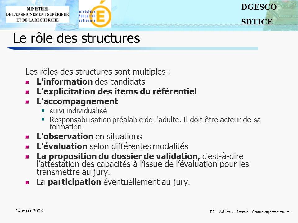 7DGESCOSDTICE 14 mars 2008 B2i « Adultes » - Journée « Centres expérimentateurs » Le rôle des structures Les rôles des structures sont multiples : Lin