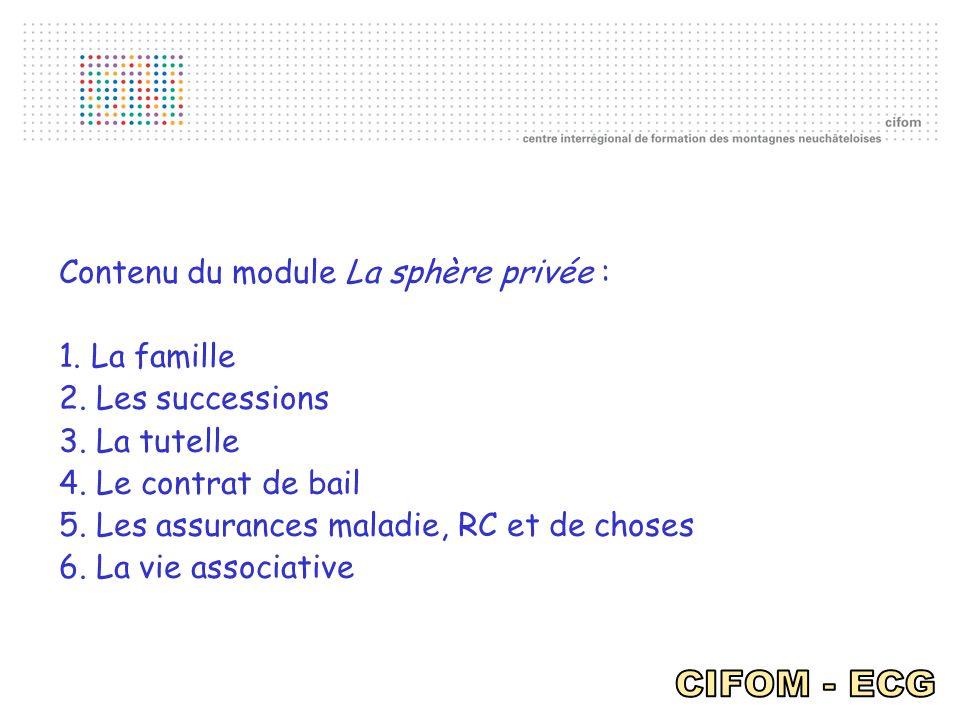 Contenu du module La sphère privée : 1. La famille 2. Les successions 3. La tutelle 4. Le contrat de bail 5. Les assurances maladie, RC et de choses 6