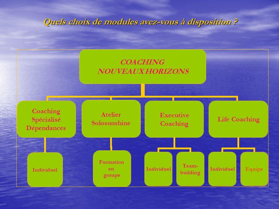 Quels choix de modules avez-vous à disposition ? COACHING NOUVEAUX HORIZONS Coaching Spécialisé Dépendances Individuel Atelier Solosunshine Formation