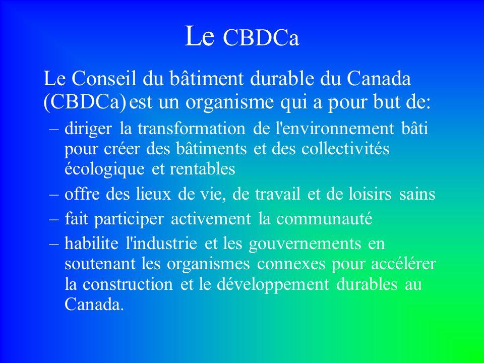 Le CBDCa Le Conseil du bâtiment durable du Canada (CBDCa) est un organisme qui a pour but de: –diriger la transformation de l environnement bâti pour créer des bâtiments et des collectivités écologique et rentables –offre des lieux de vie, de travail et de loisirs sains –fait participer activement la communauté –habilite l industrie et les gouvernements en soutenant les organismes connexes pour accélérer la construction et le développement durables au Canada.