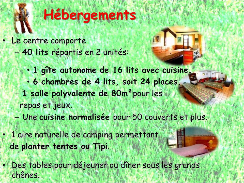 Hébergements Hébergements Le centre comporte Le centre comporte répartis en 2 unités: – 40 lits répartis en 2 unités: 1 gîte autonome de 16 lits avec