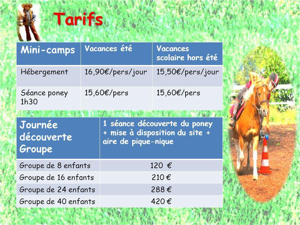 Tarifs Tarifs Mini-camps Vacances étéVacances scolaire hors été Hébergement16,90/pers/jour15,50/pers/jour Séance poney 1h30 15,60/pers Journée découve