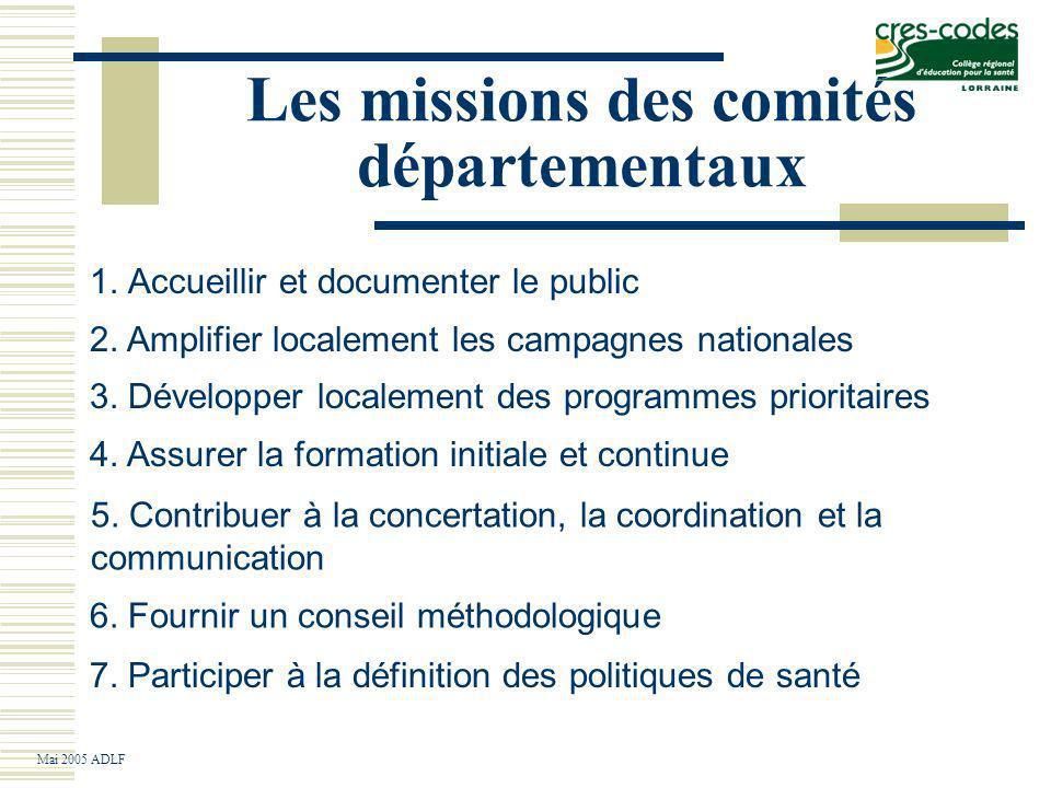 Les missions des comités départementaux 1.Accueillir et documenter le public Mai 2005 ADLF 7.