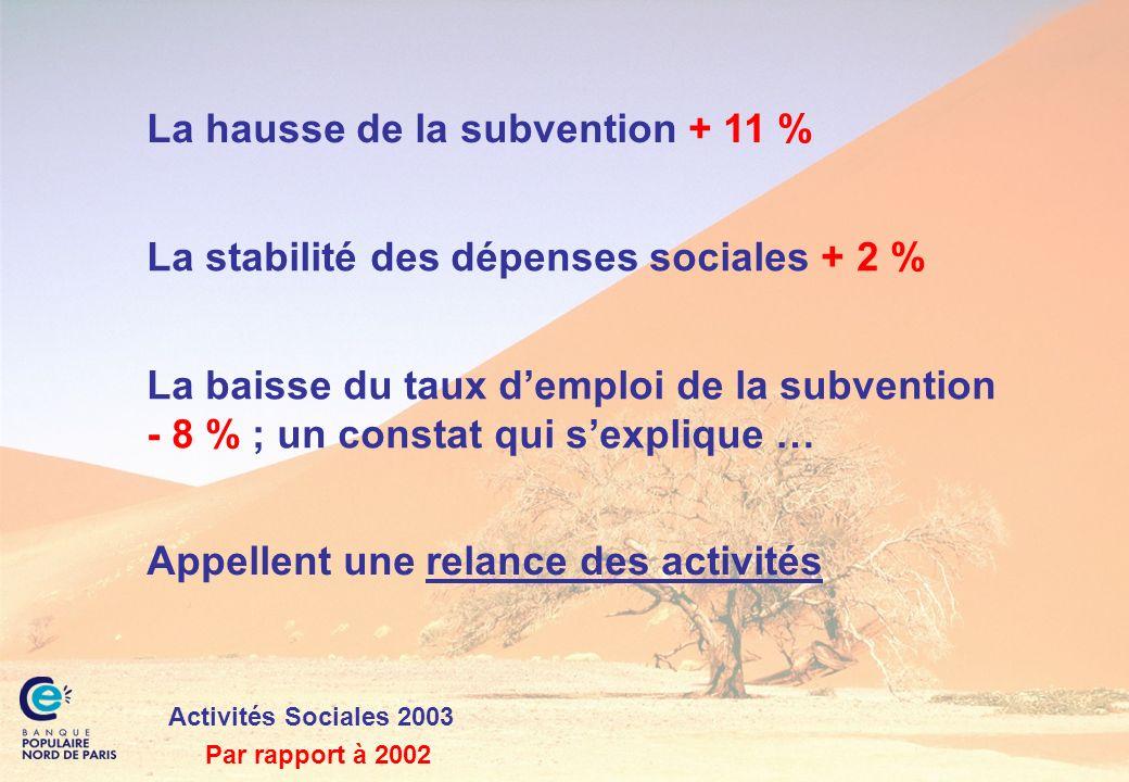 Activités Sociales 2003 La hausse de la subvention + 11 % La stabilité des dépenses sociales + 2 % La baisse du taux demploi de la subvention - 8 % ;