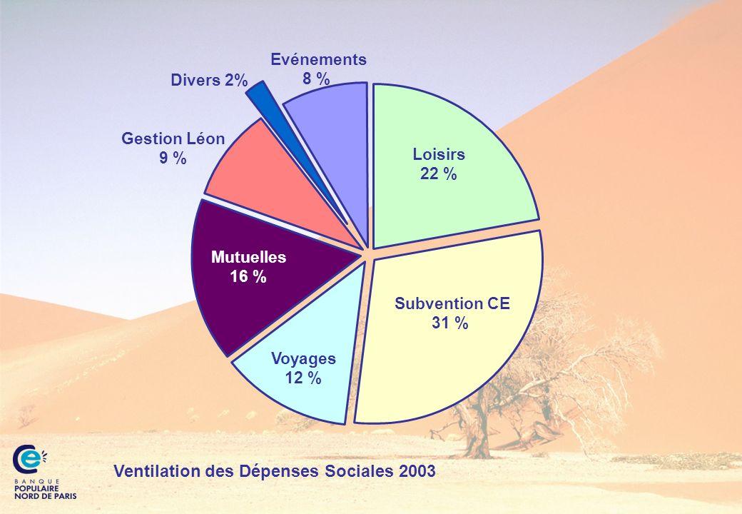 Ventilation des Dépenses Sociales 2003 Mutuelles 16 % Voyages 12 % Loisirs 22 % Gestion Léon 9 % Subvention CE 31 % Divers 2% Evénements 8 %