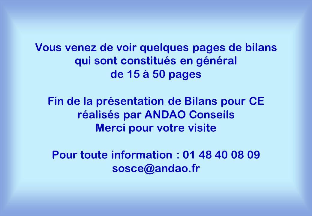 Vous venez de voir quelques pages de bilans qui sont constitués en général de 15 à 50 pages Fin de la présentation de Bilans pour CE réalisés par ANDA