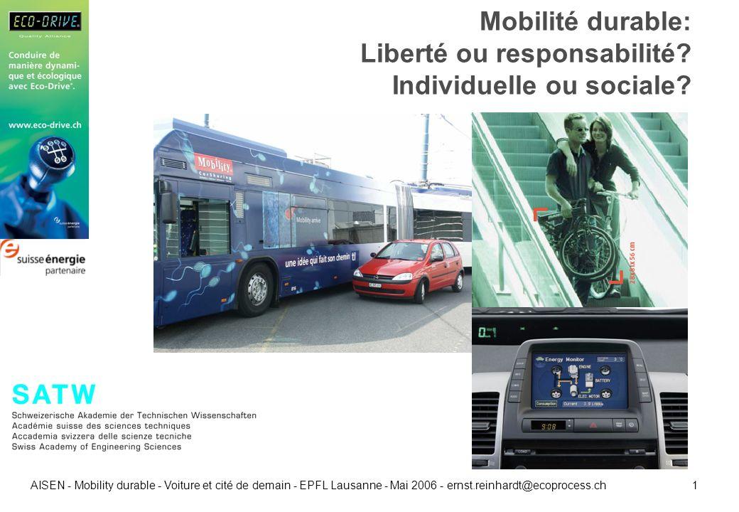 1 AISEN - Mobility durable - Voiture et cité de demain - EPFL Lausanne - Mai 2006 - ernst.reinhardt@ecoprocess.ch Mobilité durable: Liberté ou respons
