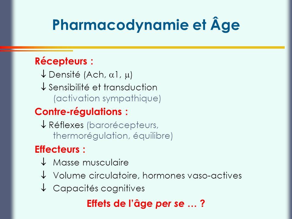 Thierry Buclin, Pharmacologie et Toxicologie cliniques, CHUV Lausanne Pharmacodynamie et Âge Récepteurs : Densité (Ach, 1, ) Sensibilité et transducti