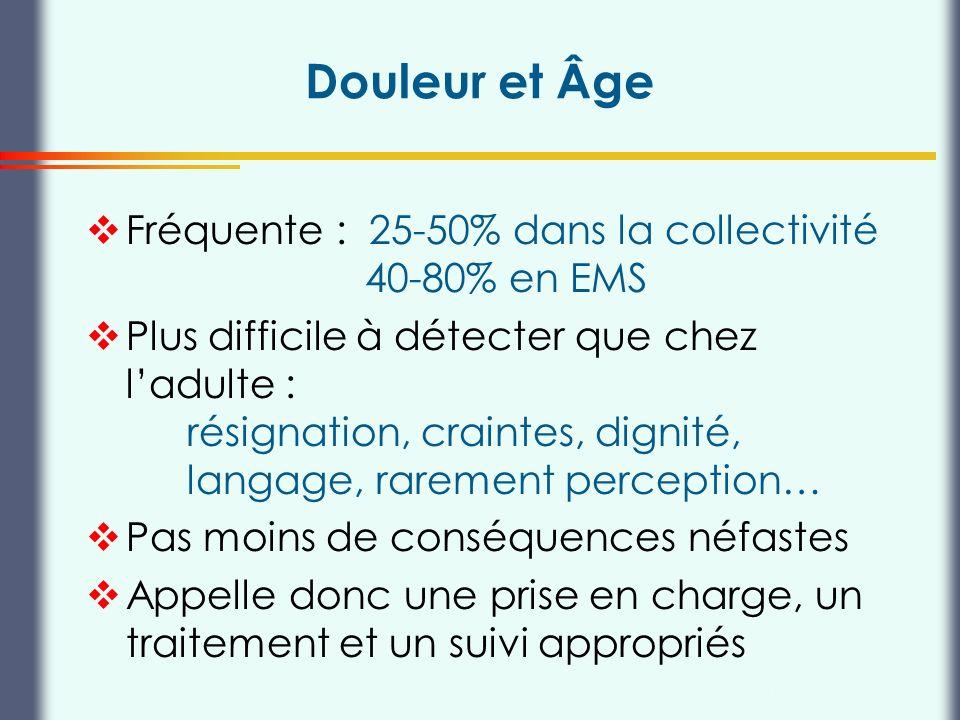 Thierry Buclin, Pharmacologie et Toxicologie cliniques, CHUV Lausanne Douleur et Âge Fréquente : 25-50% dans la collectivité 40-80% en EMS Plus diffic