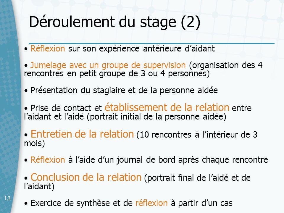 13 Réflexion sur son expérience antérieure daidant Jumelage avec un groupe de supervision (organisation des 4 rencontres en petit groupe de 3 ou 4 per
