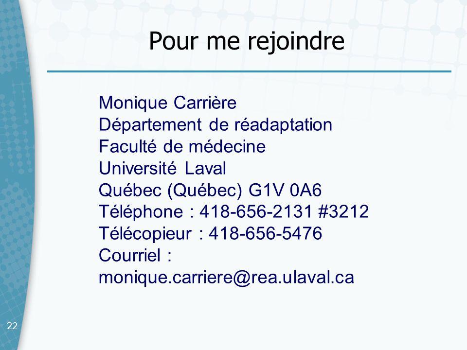 22 Pour me rejoindre Monique Carrière Département de réadaptation Faculté de médecine Université Laval Québec (Québec) G1V 0A6 Téléphone : 418-656-213
