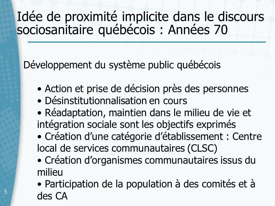 55 Développement du système public québécois Action et prise de décision près des personnes Désinstitutionnalisation en cours Réadaptation, maintien d