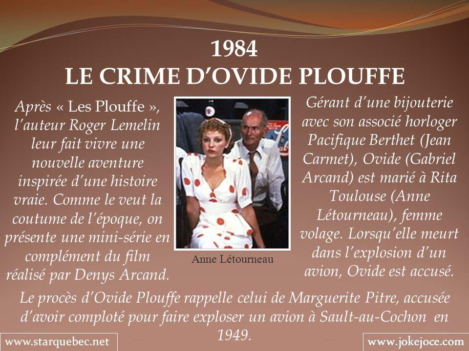 1984 LE CRIME DOVIDE PLOUFFE Anne Létourneau Gérant dune bijouterie avec son associé horloger Pacifique Berthet (Jean Carmet), Ovide (Gabriel Arcand)