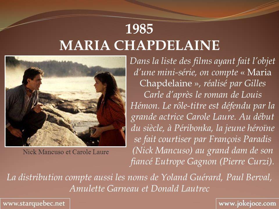 1985 MARIA CHAPDELAINE Nick Mancuso et Carole Laure Dans la liste des films ayant fait lobjet dune mini-série, on compte « Maria Chapdelaine », réalis