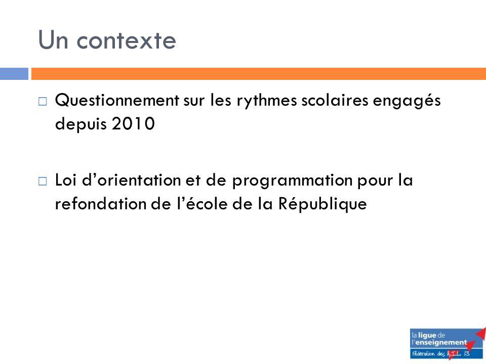 Un contexte Questionnement sur les rythmes scolaires engagés depuis 2010 Loi dorientation et de programmation pour la refondation de lécole de la République