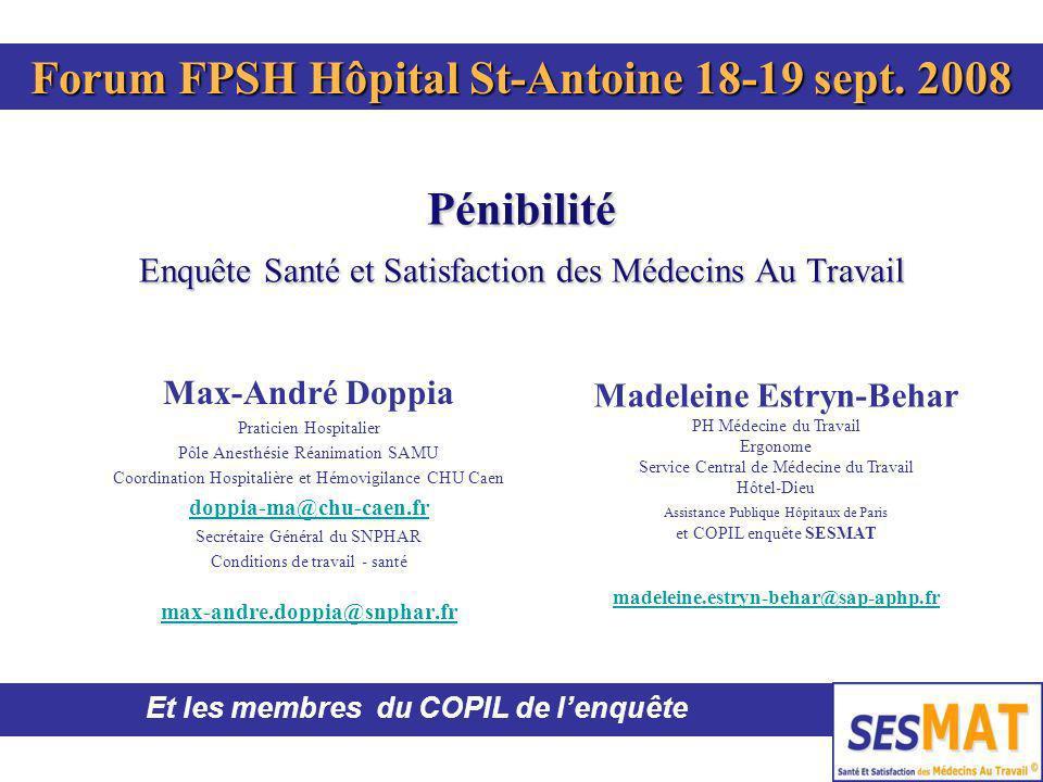 Pénibilité Enquête Santé et Satisfaction des Médecins Au Travail Max-André Doppia Praticien Hospitalier Pôle Anesthésie Réanimation SAMU Coordination