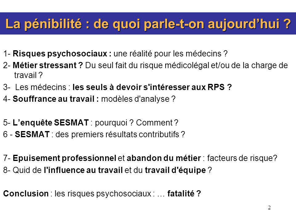 2 La pénibilité : de quoi parle-t-on aujourdhui ? 1- Risques psychosociaux : une réalité pour les médecins ? 2- Métier stressant ? Du seul fait du ris