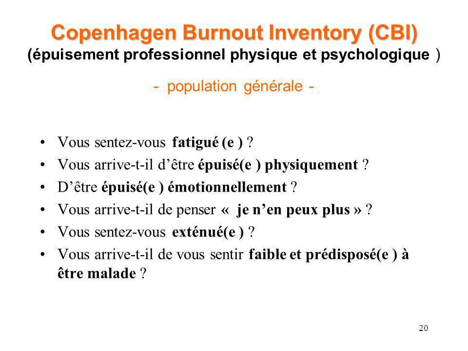 20 Copenhagen Burnout Inventory (CBI) Copenhagen Burnout Inventory (CBI) (épuisement professionnel physique et psychologique ) - population générale -