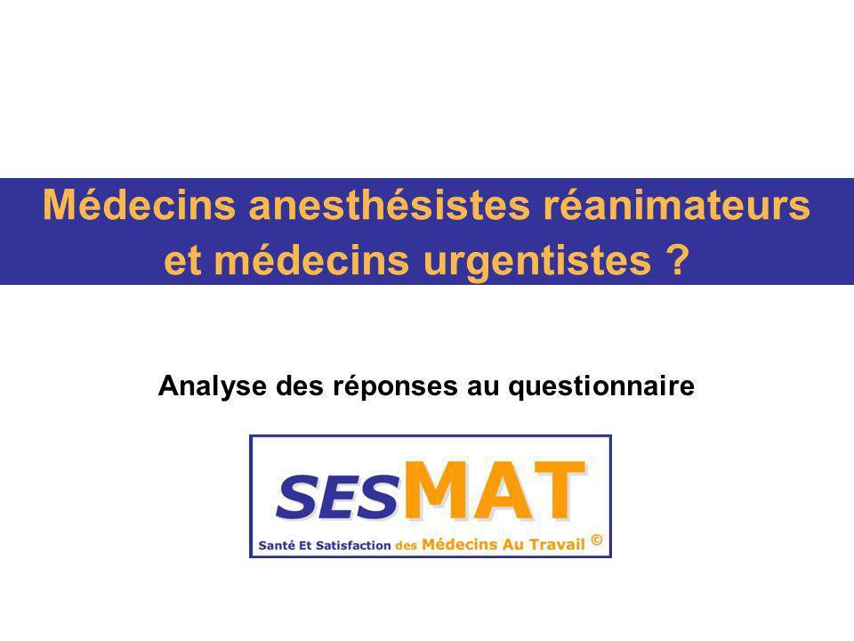 Médecins anesthésistes réanimateurs et médecins urgentistes ? Analyse des réponses au questionnaire