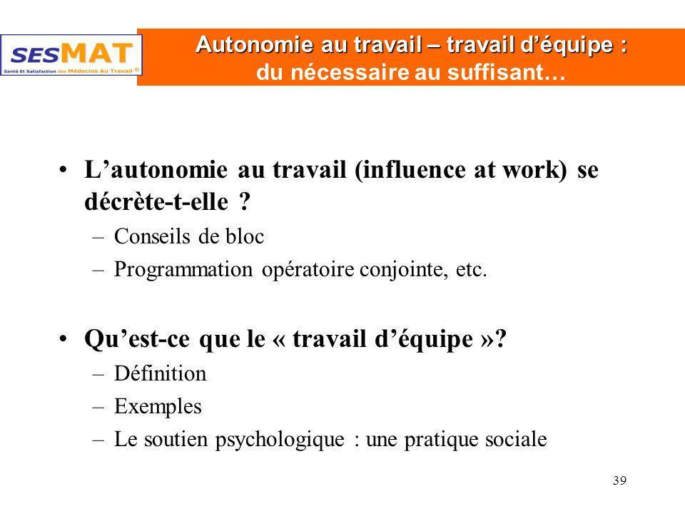 39 Autonomie au travail – travail déquipe : Autonomie au travail – travail déquipe : du nécessaire au suffisant… Lautonomie au travail (influence at w