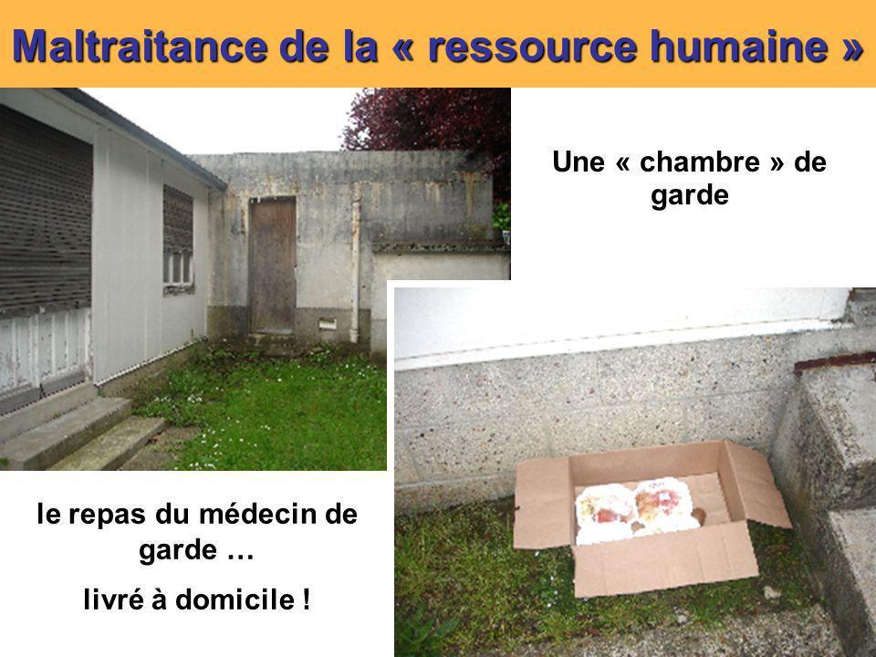 8 Maltraitance de la « ressource humaine » Une « chambre » de garde le repas du médecin de garde … livré à domicile !