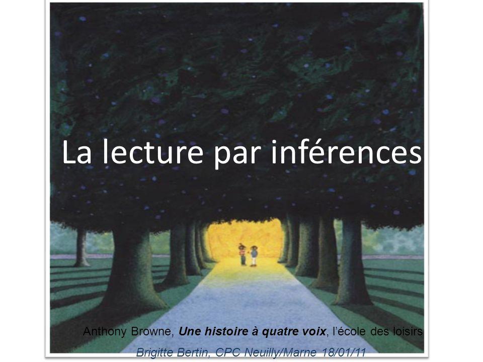 La lecture par inférences Brigitte Bertin, CPC Neuilly/Marne 18/01/11 Anthony Browne, Une histoire à quatre voix, lécole des loisirs