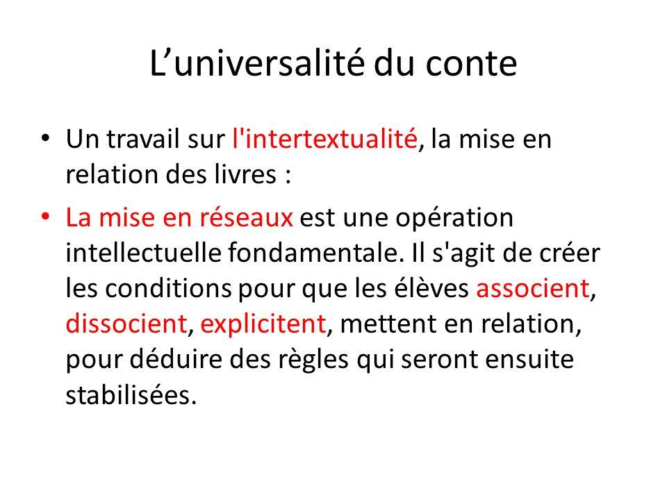 Luniversalité du conte Un travail sur l'intertextualité, la mise en relation des livres : La mise en réseaux est une opération intellectuelle fondamen