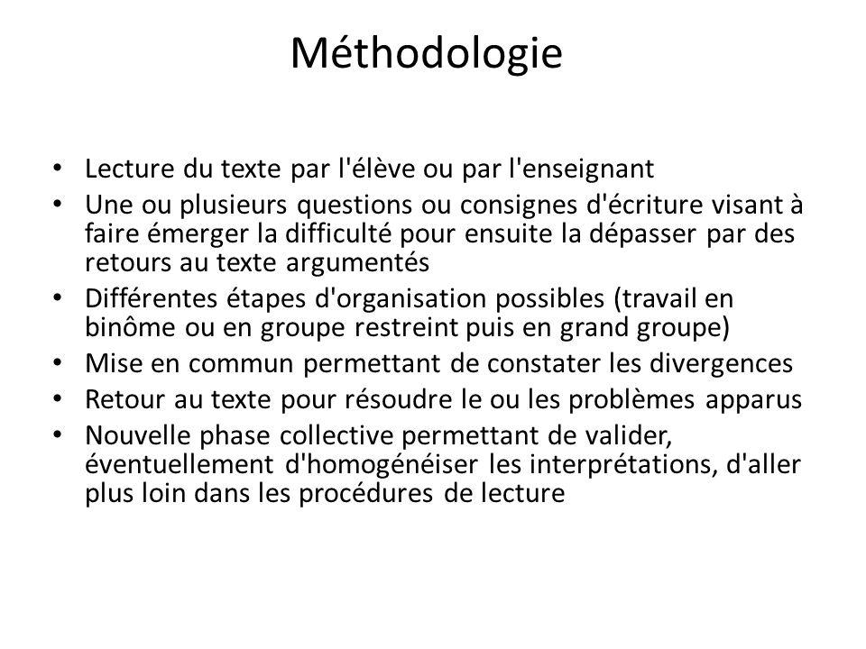 Méthodologie Lecture du texte par l'élève ou par l'enseignant Une ou plusieurs questions ou consignes d'écriture visant à faire émerger la difficulté
