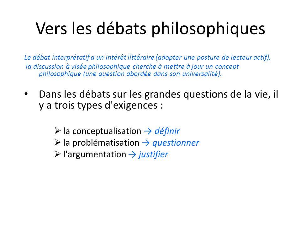 Vers les débats philosophiques Le débat interprétatif a un intérêt littéraire (adopter une posture de lecteur actif), la discussion à visée philosophi