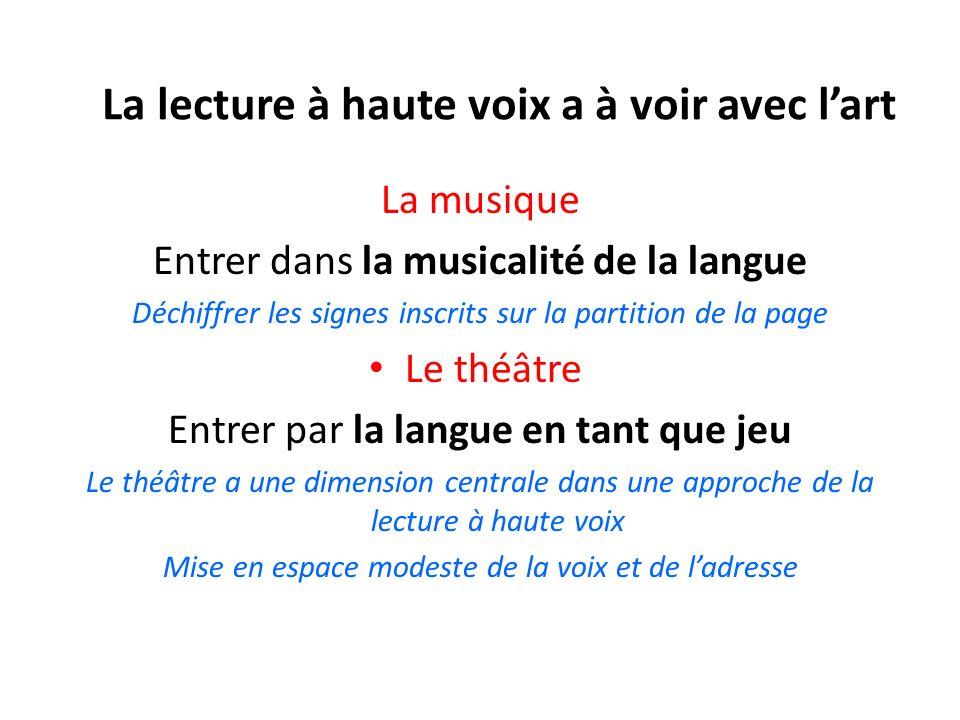 La lecture à haute voix a à voir avec lart La musique Entrer dans la musicalité de la langue Déchiffrer les signes inscrits sur la partition de la pag