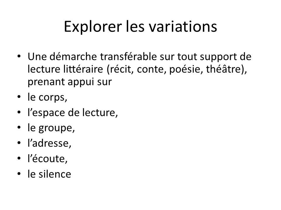 Explorer les variations Une démarche transférable sur tout support de lecture littéraire (récit, conte, poésie, théâtre), prenant appui sur le corps,