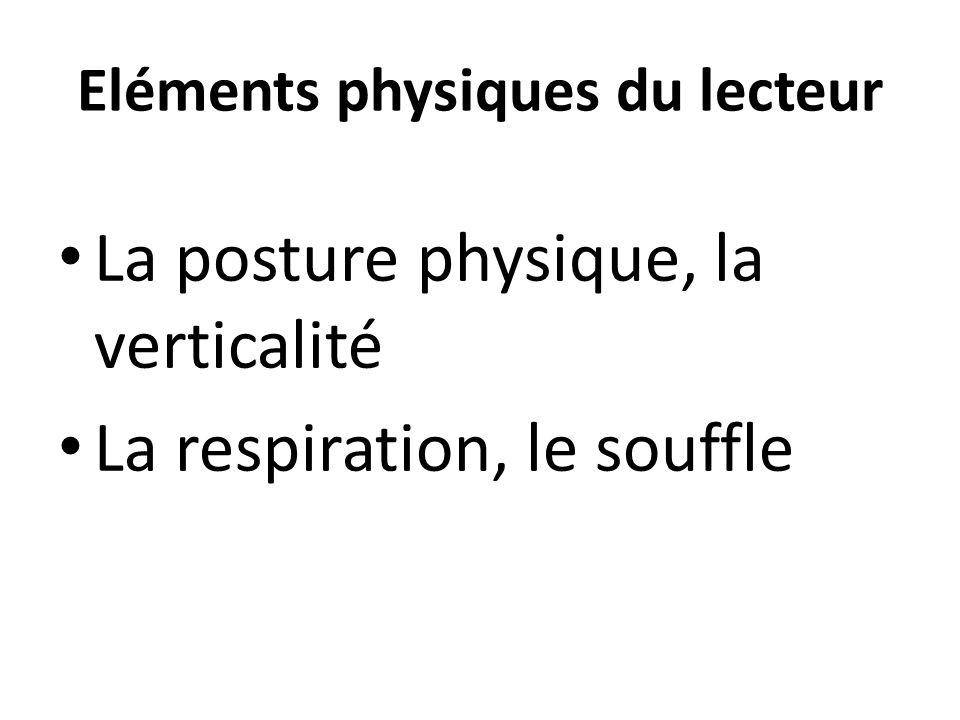 Eléments physiques du lecteur La posture physique, la verticalité La respiration, le souffle