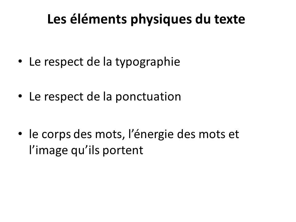 Les éléments physiques du texte Le respect de la typographie Le respect de la ponctuation le corps des mots, lénergie des mots et limage quils portent