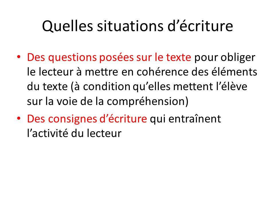 Quelles situations décriture Des questions posées sur le texte pour obliger le lecteur à mettre en cohérence des éléments du texte (à condition quelle