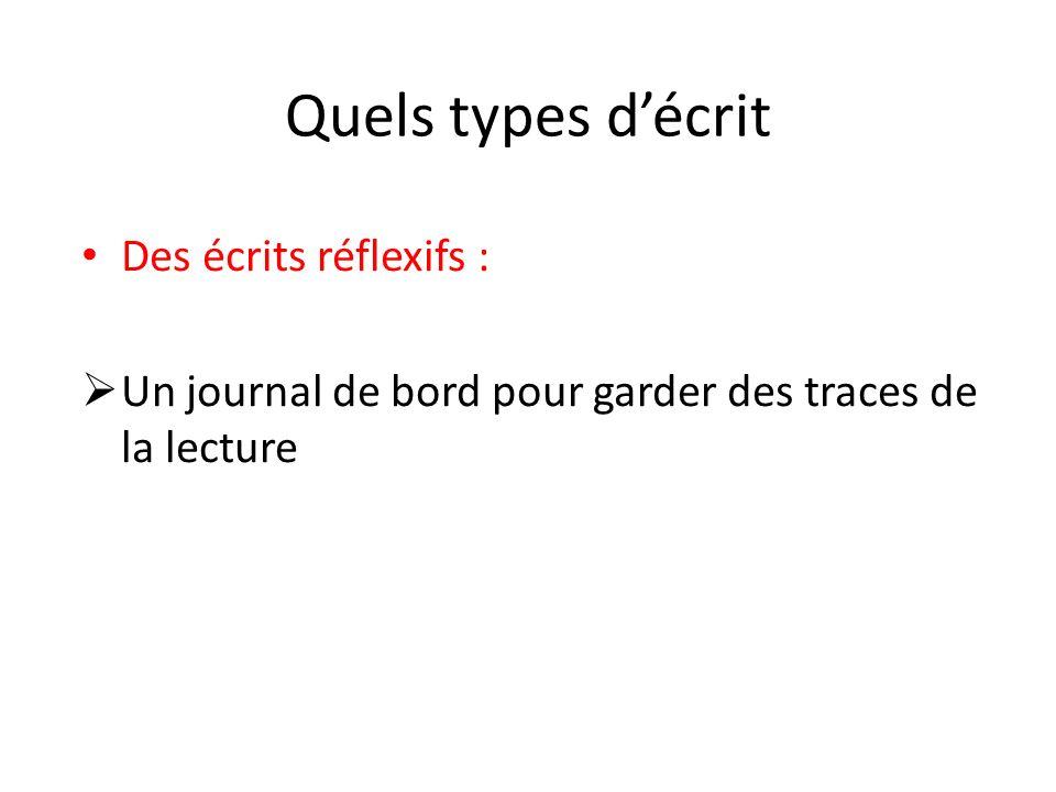 Quels types décrit Des écrits réflexifs : Un journal de bord pour garder des traces de la lecture