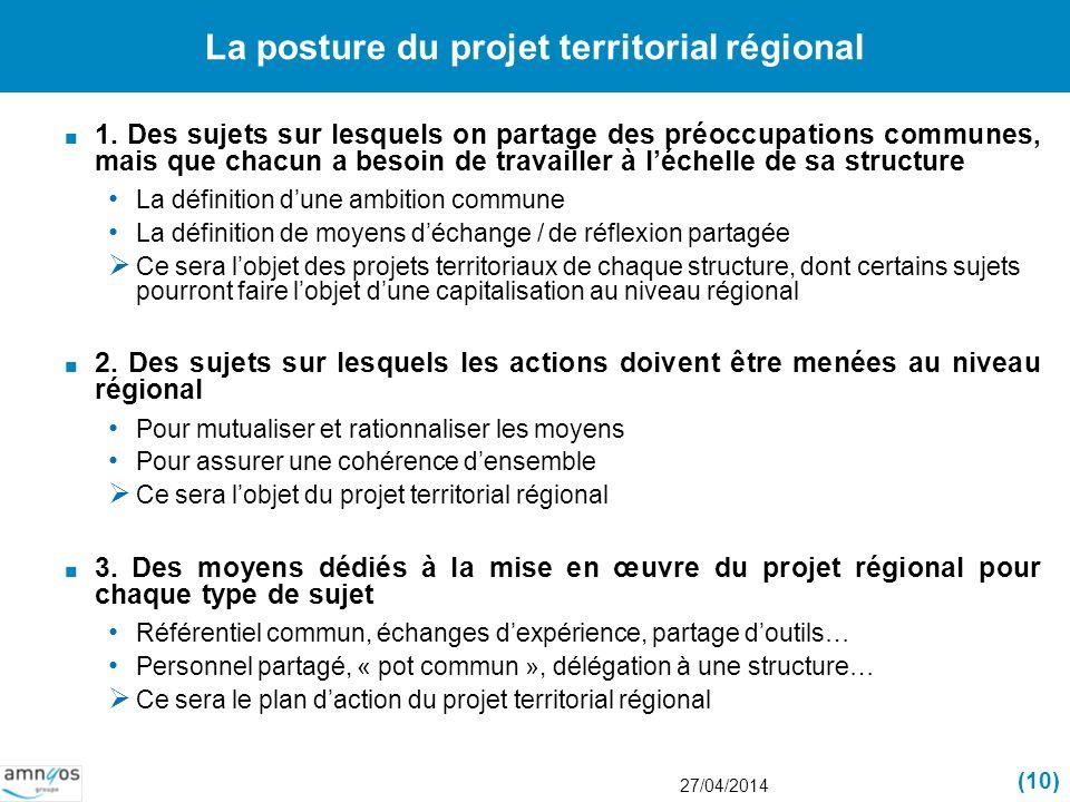 La posture du projet territorial régional 1. Des sujets sur lesquels on partage des préoccupations communes, mais que chacun a besoin de travailler à