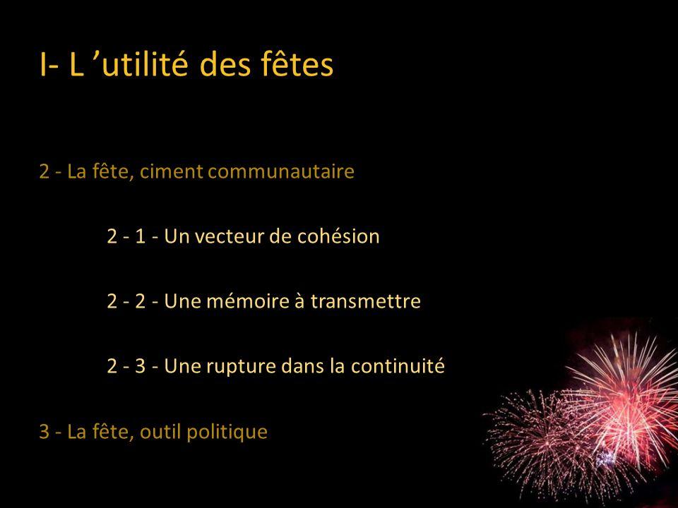 2 - La fête, ciment communautaire 2 - 1 - Un vecteur de cohésion 2 - 2 - Une mémoire à transmettre 2 - 3 - Une rupture dans la continuité 3 - La fête,